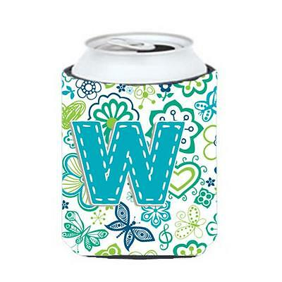 Letter W Flowers And Butterflies Teal Blue Can & Bottle Hugger