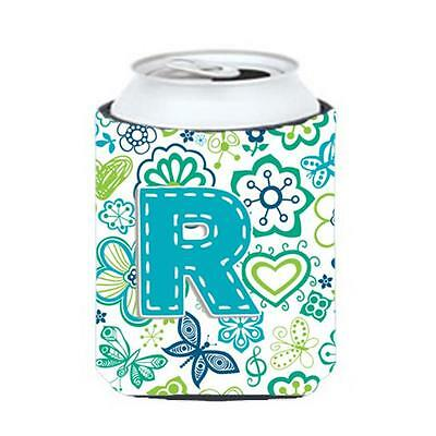 Letter R Flowers And Butterflies Teal Blue Can & Bottle Hugger