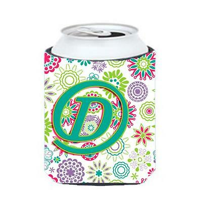 Carolines Treasures Letter D Flowers Pink Teal Green Initial Can & Bottle Hugger