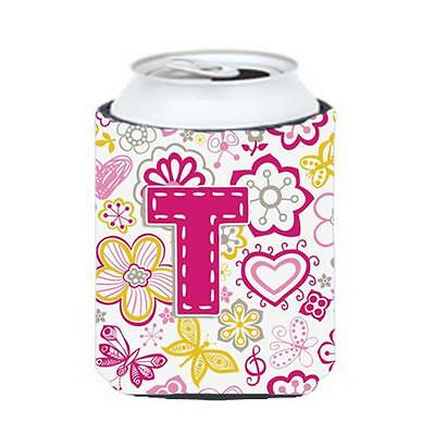Carolines Treasures Letter T Flowers And Butterflies Pink Can & Bottle Hugger