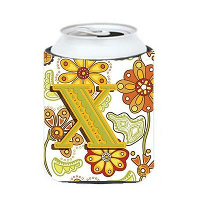 Carolines Treasures Letter X Floral Mustard And Green Can & Bottle Hugger