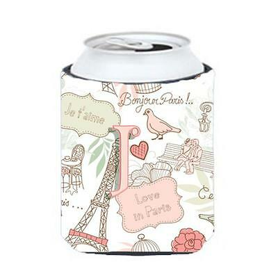 Carolines Treasures CJ2002-JCC Letter J Love In Paris Pink Can & Bottle Hugger • AUD 45.90