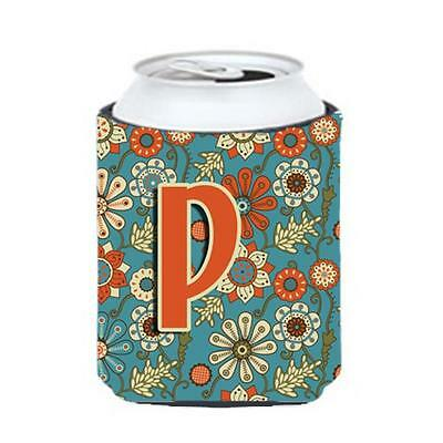 Carolines Treasures CJ2012-PCC Letter P Flowers Retro Blue Can & Bottle Hugger
