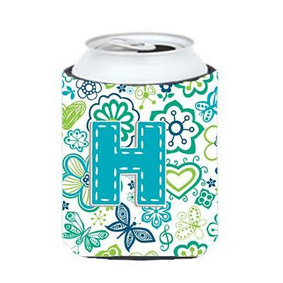 Letter H Flowers And Butterflies Teal Blue Can & Bottle Hugger