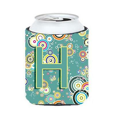 Letter H Circle Circle Teal Initial Alphabet Can & Bottle Hugger