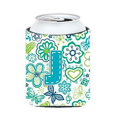 Letter J Flowers And Butterflies Teal Blue Can & Bottle Hugger