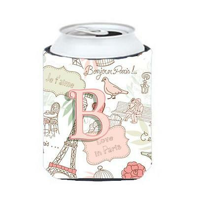 Carolines Treasures CJ2002-BCC Letter B Love In Paris Pink Can & Bottle Hugger
