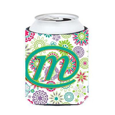 Carolines Treasures Letter M Flowers Pink Teal Green Initial Can & Bottle Hugger