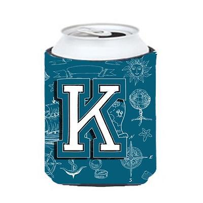 Carolines Treasures Letter K Sea Doodles Initial Alphabet Can & Bottle Hugger