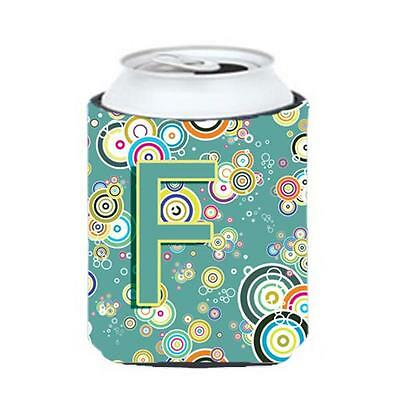 Letter F Circle Circle Teal Initial Alphabet Can & Bottle Hugger