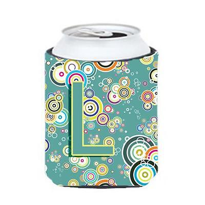 Letter L Circle Circle Teal Initial Alphabet Can & Bottle Hugger