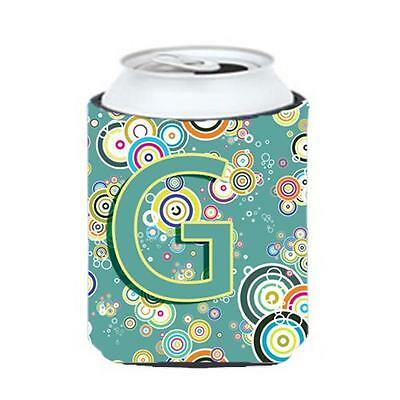 Letter G Circle Circle Teal Initial Alphabet Can & Bottle Hugger