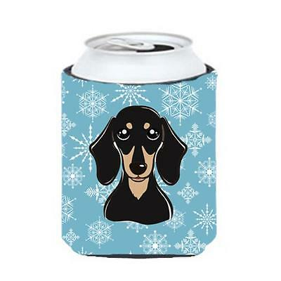 Carolines Treasures Snowflake Smooth Black And Tan Dachshund Can & Bottle Hugger