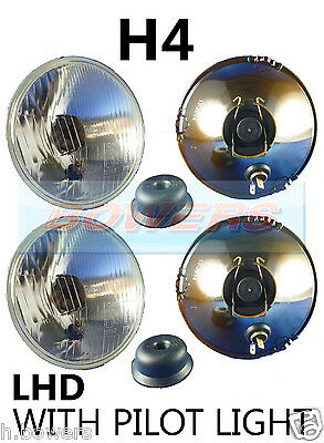 "5.75"" 5 3/4"" Lhd Classic Car Headlamps Headlights Halogen H4 Conversion + Pilot"