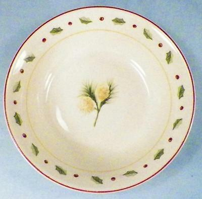 Merry Brite Holiday Home Soup Cereal Bowl Christmas Pine Cones Holly China
