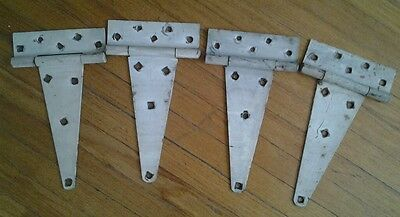 4 Large Barn Door T Strap Hinges Old Antique Aged Weathered Hinges Rusted White