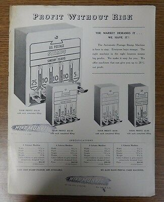 Mike Munves Corp. Automatic Postage Stamp Vending Machine Advertising Flyer