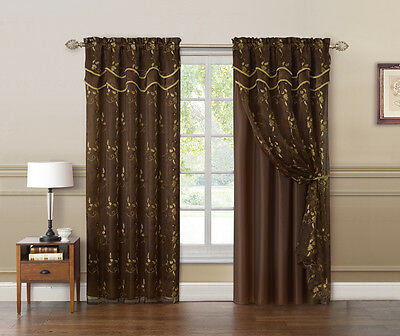 Chocolate Brown and Gold Double Layer Embroidered Window Curtain: Floral Design