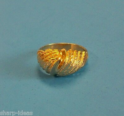 Ladies Textured Dome Ring - 14k Yellow Gold