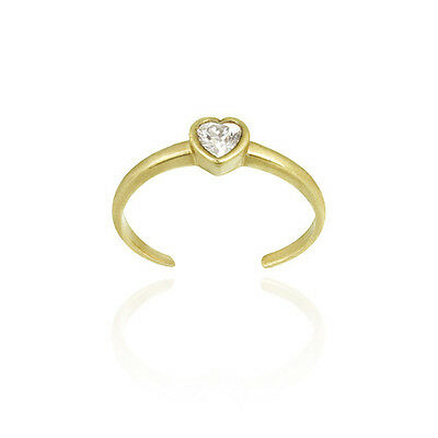 18K Gold over 925 Silver CZ Heart Toe Ring
