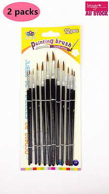 2Packs 12 Sizes Round Artist Paint Brushes Watercolor Water Oil Painting 188