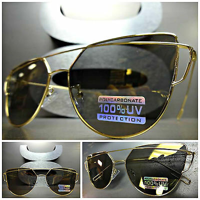 New CLASSIC VINTAGE RETRO Style SUN GLASSES Gold Flat Top Wire Frame Mirror Lens