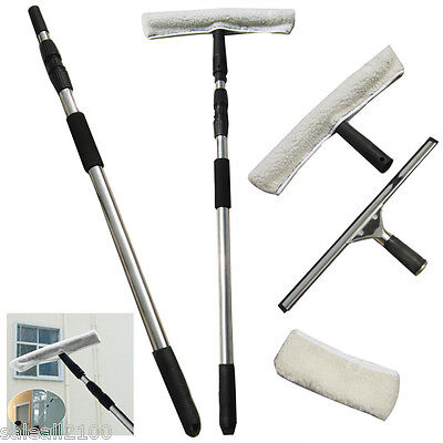 TELESCOPIC Window Cleaning Washing Kit Washer Wash Pole Large Squeegees Cleaner