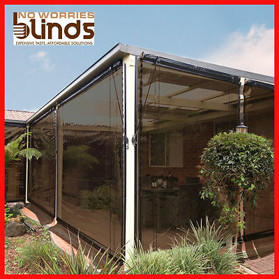NEW! 300 x 240 Charcoal Bistro Cafe Blind PVC Patio Backyard Outdoor Verandah