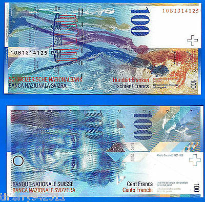 Switzerland 100 Francs 2010 Svizzera CHF Suisse Giacometti Free Shiping World