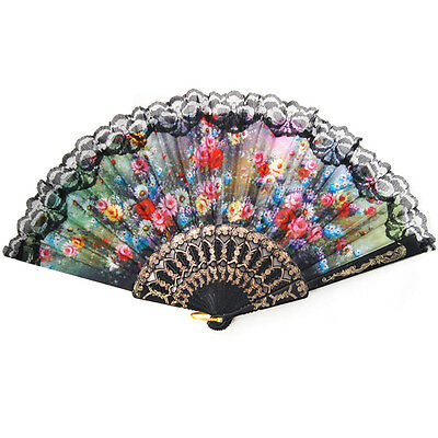 Spanish Hand Held Fan Lace Flower Floral Fabric Folding Fan Party Wedding Prom