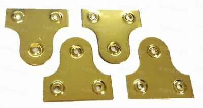4 Brassed Mirror Plate Picture Frame Hanging Plates Flat Bracket Hanger 20mm