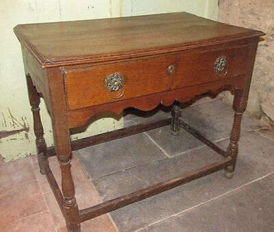 Antique Oak Period Side Table Large Drawer