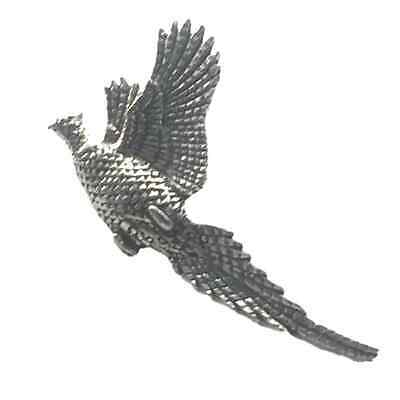 Rising Pheasant Handcrafted From English Pewter Lapel Pin Badge + Gift Bag