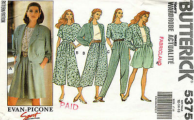 Butterick Misses' Jacket,Top,Split Skirt & Pants Pattern 5375 Size 12-16 UNCUT