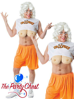 Mens Droopers Hooters Funny Droopy Boobs Stag Party Fancy Dress Costume AC789