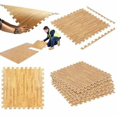Wood Effect Interlocking Gym Play Home Workout Soft Tiles Mats EVA Foam Floor