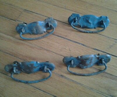 4 Shabby Chic Drawer Pulls Antique Furniture Old Hardware Metal Brass