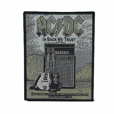 "Young Guitars ""AC/DC In Rock We Trust"" Jacket Patch ACDC Fan Sew-On Applique"