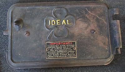 ANTIQUE VINTAGE CAST IRON  IDEAL BOILER DOOR w/ 4 LEAF CLOVER
