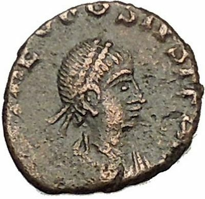 THEODOSIUS II 425AD Authentic Ancient Roman Coin Wreath, cross within i53949