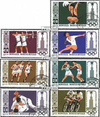 Mongolia 1287-1293 (complete issue) used 1980 olympic. Games, M