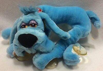 "Vintage Foofur Blue Plush Dog Suction Cups Sepp Mendez 13"" Tag 1988"