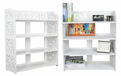 WPC 4 Tier Display Shelf Storage Bookshelf Durable Waterproof Stand Rack White