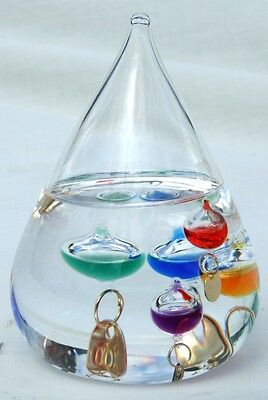 Free standing tear drop Galileo thermometer