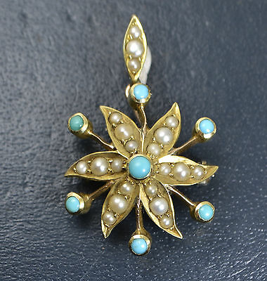 Antique 9CT YELLOW GOLD Persian Turquoise & Pearl STAR BURST Pendant / Brooch