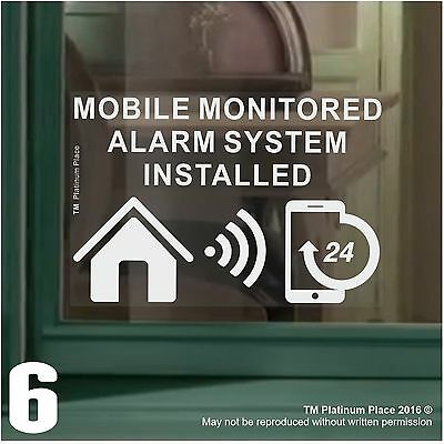 6 MOBILE Monitored Alarm System Installed-Window Stickers-Warning Security Signs