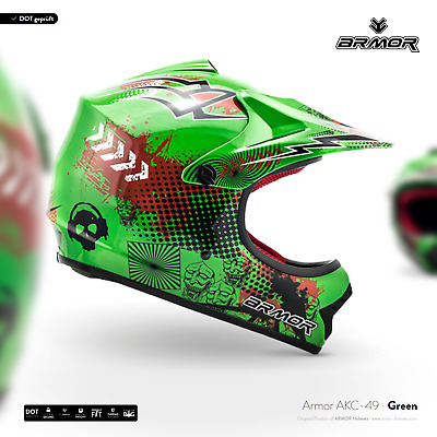 ARMOR AKC-49 green Cross-Helm Kids Kinder-Helm Quad-Helm Enduro BMX XS S M L XL