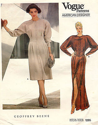 80's VTG VOGUE AMER. DESIGNER Misses' Dress Geoffrey Beene Pattern 1285 12 UNCUT