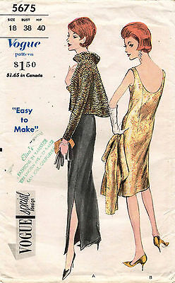 1960's VTG VOGUE Misses' Evening Dress and Jacket  Pattern 5675 Size 18
