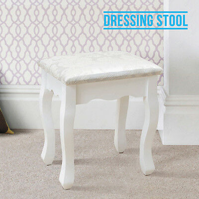 White Vintage Retro Dressing Table Stool Padded Piano Chair Makeup Seat